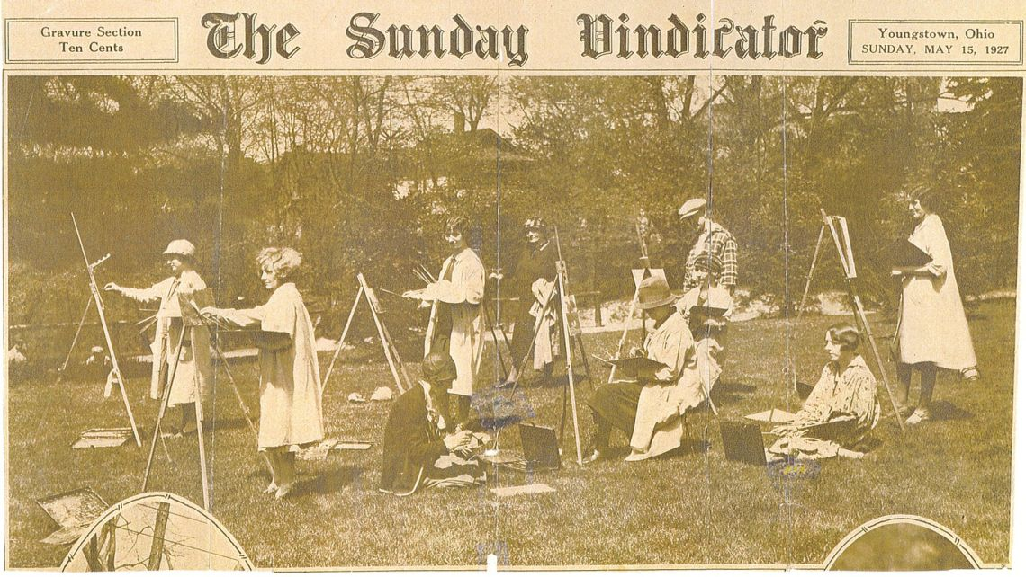 John Lloyd (3rd from right) instructing the Youngstown Society of Women Artists  in capturing the beauty of Mill Creek Park, May, 1927.