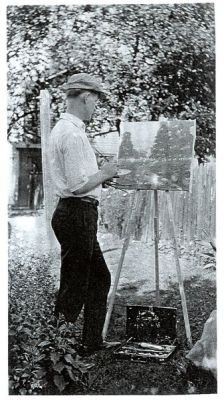 The artist creating a landscape